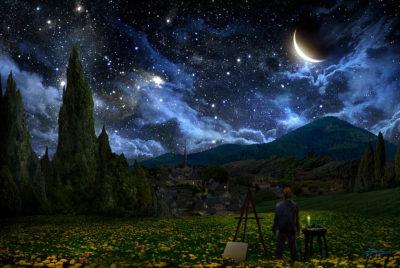 Imágenes De La Luna Menguante noche estrellada