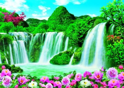 Imagenes de cascadas con brillo y movimiento flores