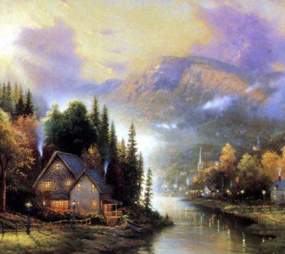 dibujos de paisajes naturales  con casas