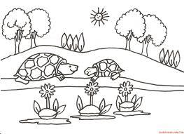 dibujos de paisajes naturales  para colorear faciles