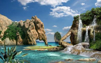 imagenes de cascadas con esculturas