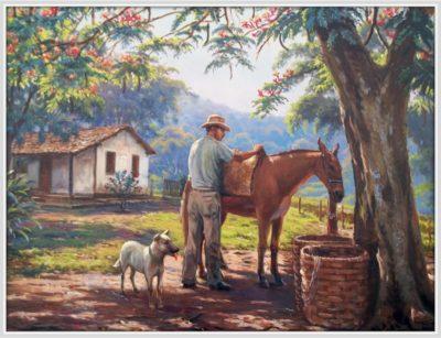 dibujos de paisajes con animales y personas