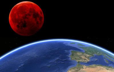Imágenes De La Luna Sangrienta y la tierra