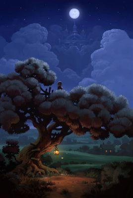 Paisajes de noche con movimientos arbol