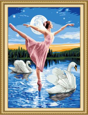 paisajes romanticos con cisnes lago