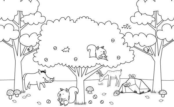 paisaje con arboles y animales para colorear