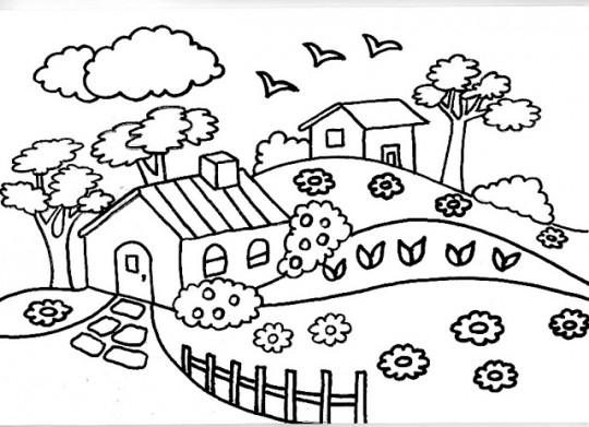 paisaje con flores y una casa para colorear