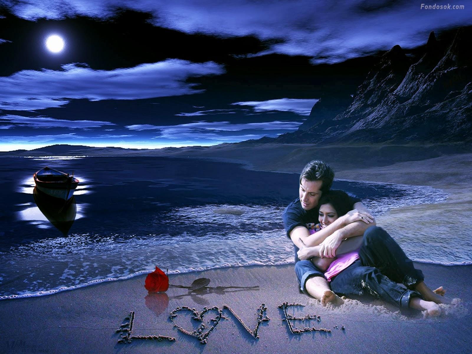 paisaje de amor en la playa