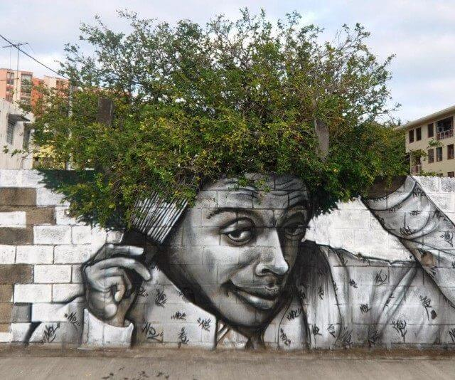 paisaje de planta con arte urbano